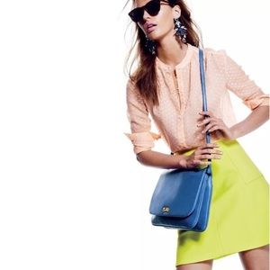 J. Crew Neon Fluted Skirt in Double Crepe